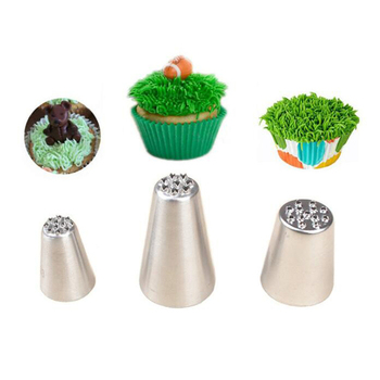 TTLIFE 3Pcs Grass Cream Icing Nozzles Stainless Steel Pastry Fury Decoration Cupcake Head Cake Decorating Tools