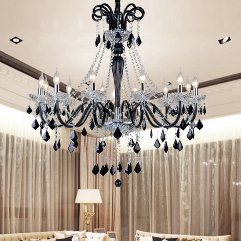 цена на European style French black candle crystal chandelier creative living room bedroom wedge type restaurant crystal pendant lamp