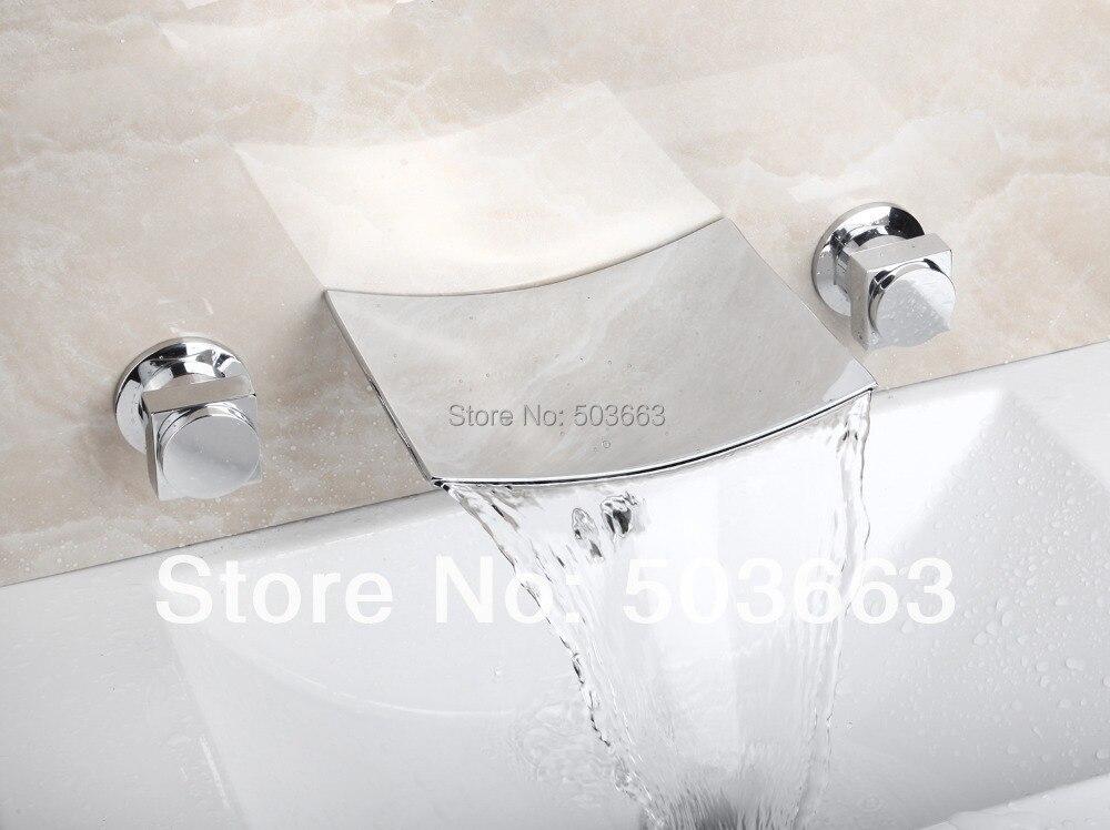 Горячая Водопад Настенный Ванная раковина ванна полированный хромированный смеситель ручки смеситель кран MF-813