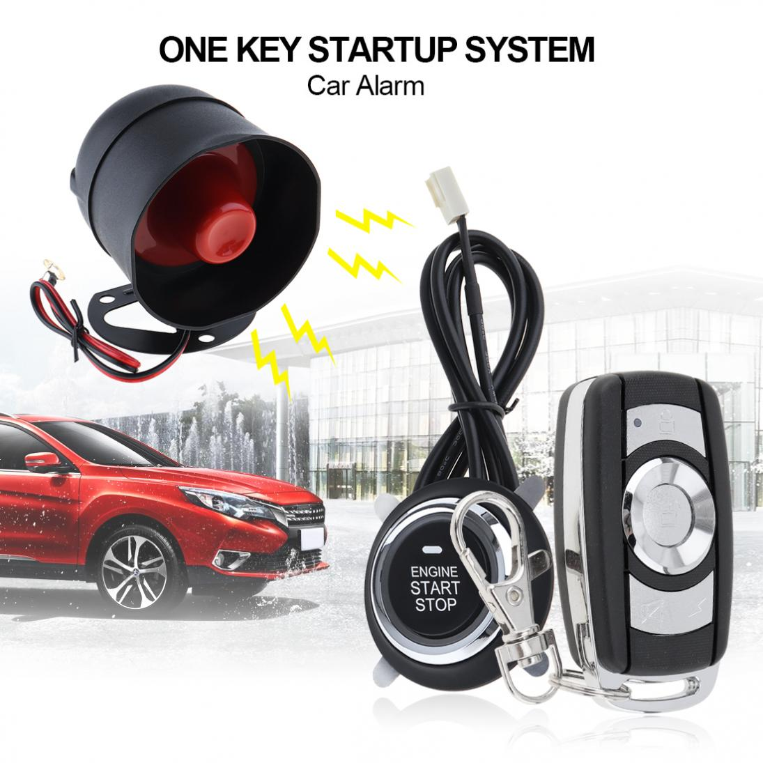 12V Car Alarm System Remote Start Stop Engine System with Auto Central Lock and Keyless Entry 5A with Key 2 smart haa flip key pke car alarm system push start remote start stop engine auto central door lock with shock sensor