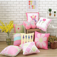50x50cm 100 Cotton Quilt Grils Bedroom Sofa Decorate Pillowcase Flower Pattern Thicken Cushion Cover