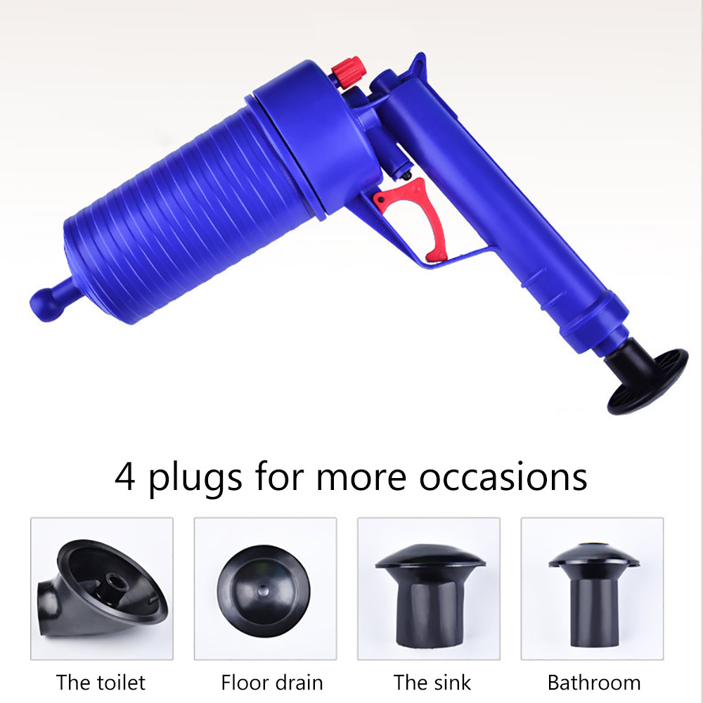 Toilet Pipe Dredging Tool 4 heads High Pressure Air Power Drain Blaster Gun Plunger Opener Cleaner Pump For Toilets Bathroom