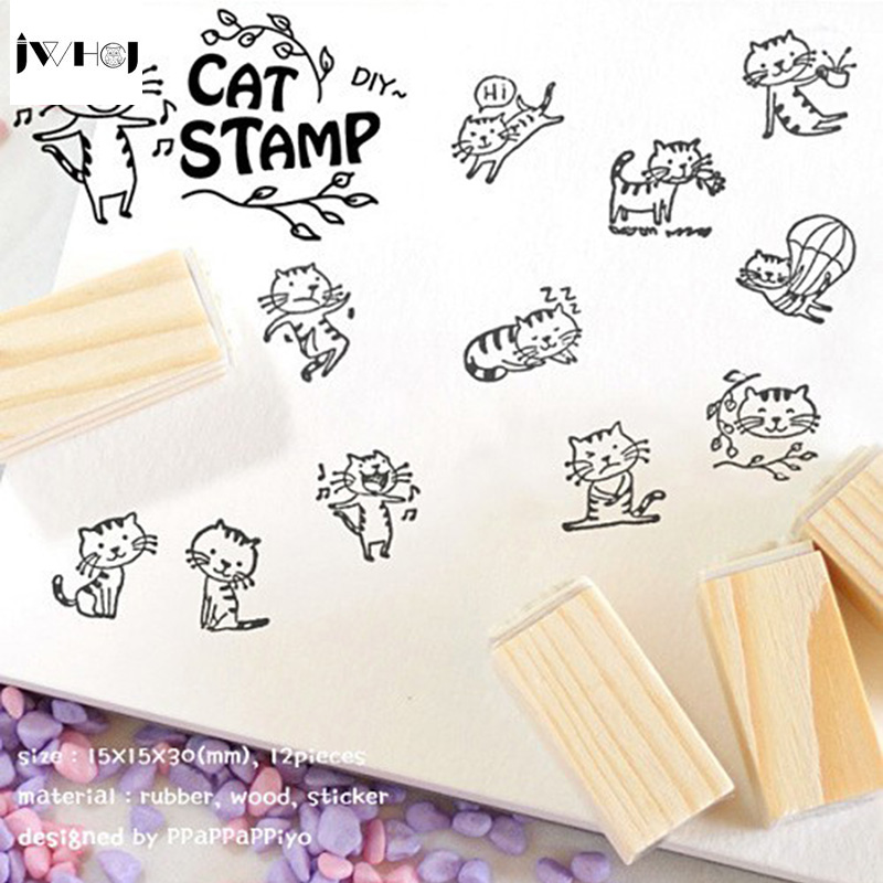 цена на JWHCJ 12 PCS/set Mini Cute Cat DIY wooden rubber stamp set Crafts Handmade decal scrapbooking Photo Album Free shipping