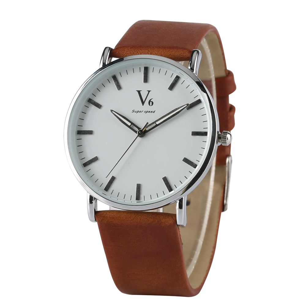 Fashion Business Men' s Quartz Watch Classic Style Simple Design Dial High Quality White Black or Brown Soft Leather Band