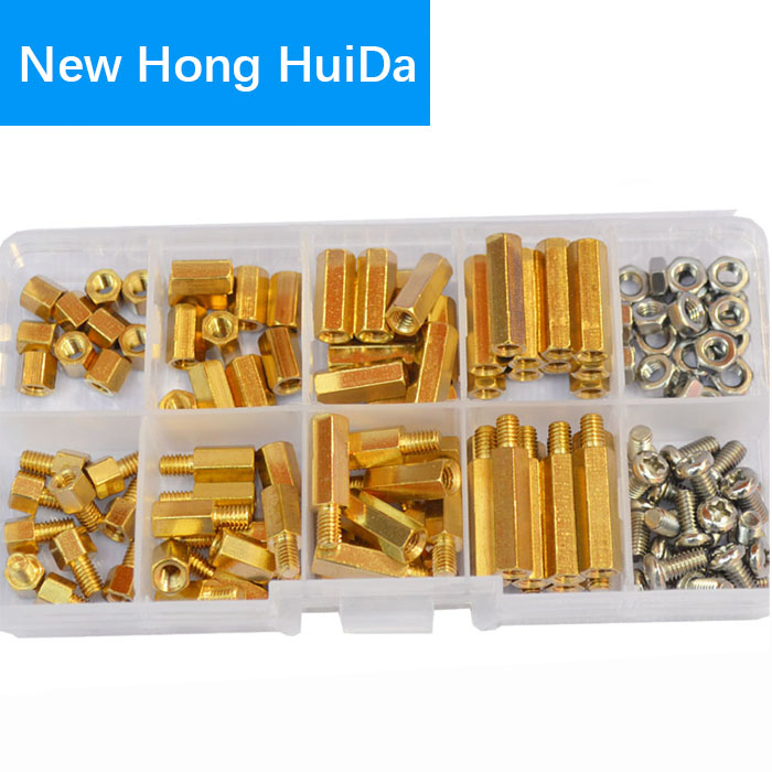 <font><b>M4</b></font> Hex <font><b>Brass</b></font> <font><b>Standoff</b></font> Male Female Threaded Bolt Screw Nut Hexagonal Pillar PCB Motherboard Assortment Kit Mount 120Pcs image