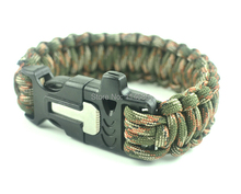 10Pcs/lot New multifunctional paracord bracelet buckle with flint fire starter & whistle ,outdoor camping survival equipment