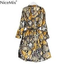 NiceMix Leopard Shirt Dress Long Sleeve Cardigan Boho Sexy Midi Korean Yellow Plus Size Snake Print Beach Summer Women Ves