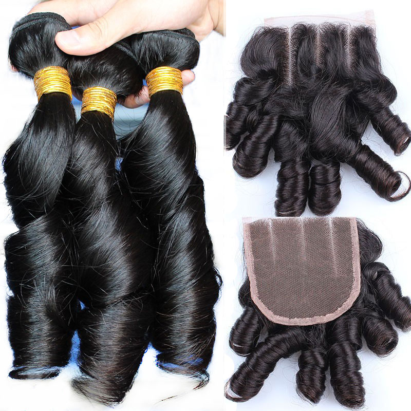 Bouncy Curly Human Hair Bundles With Closure Brazilian Egg Curl Funmi Hair Extensions Natural Color 10-24inches Comingbuy Remy