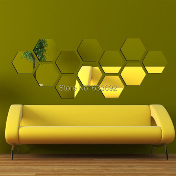 Rhombic shape home decor wall mirror sticker .862*333 mm Diamond ...