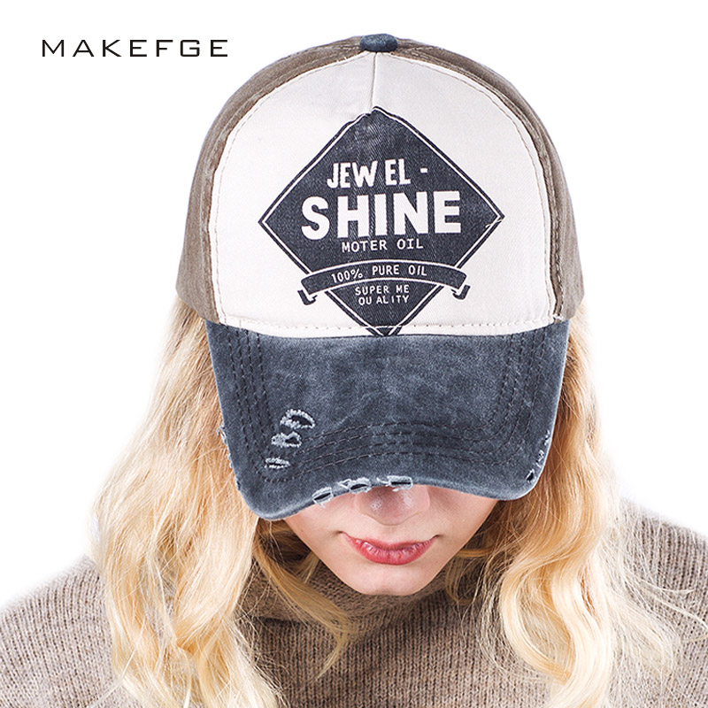NEW Washed Denim baseball cap women 100% Cotton Snapback Hats Men Sport Hats Polo fitted cap motorcycle shine Casquette Letter