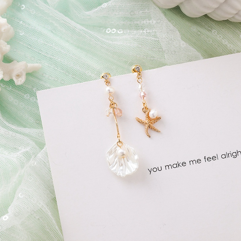 MENGJIQIAO New Korea Japan Elegant Shell Starfish Drop Earrings For Women Sweety Simulated Pearl Pendientes Girl Party Jewelry 30
