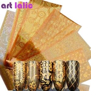 Image 1 - 16 デザイン/セットゴージャスなゴールドカラー箔のヒントの装飾マニキュアツールマジックレーザーネイルアート転送星空ステッカーデカール