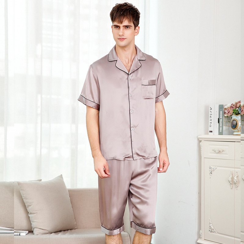 Man's Genuine Silk Pajamas Summer Short Sleeve Sleepwear Male 100% Silkworm Silk Pyjama Sets Solid Color T9004