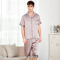 Man's Genuine Silk Pajamas Summer Short Sleeve Sleepwear Male 100% Silkworm Silk Pyjama Sets Solid Color T9004