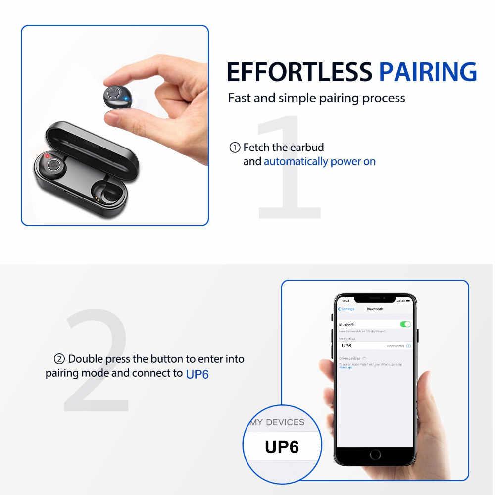 ALWUP Bluetooth 5.0 イヤホン TWS ワイヤレスヘッドフォン 3D ステレオヘッドセットイヤフォンとの電話のため充電ボックス