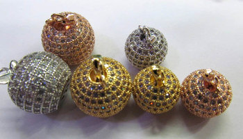 AAA grade 10mm 12pcs pave metal spacer &cubic zirconia crystal round ball apple silver gold mixed jewelry beads