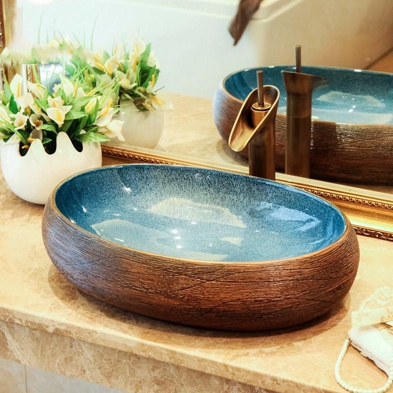 European Style Luxury Ceramic Porcelain Bathroom Wash Face Basin