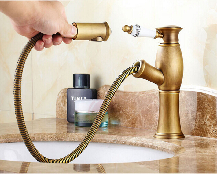 New arrival high quality bronze finished total brass cold and hot bathroom sink faucet basin faucet with pull out shower head new arrival total brass high quality unique design black finished hot and cold basin faucet sink faucet bathroom basin tap