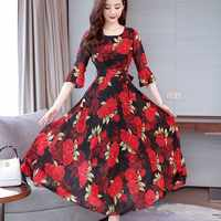 Fashion New Summer Bohemian Slim Large Swing Floral Dress O-neck Trumpet Sleeves High Waist Long Dress Temperamental Lady Dress