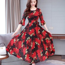 Fashion New Summer Bohemian Slim Large Swing Floral Dress O-neck Trumpet Sleeves
