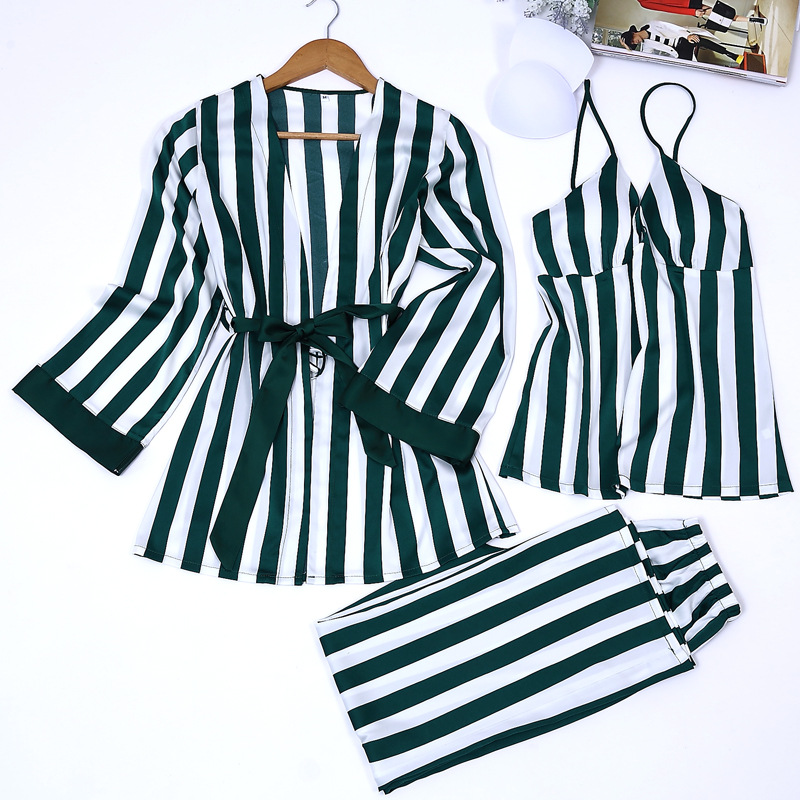 2019 spring new design four pieces satin   pajamas     sets   bathrobe + bras + tops + pants luxury female sexy nighties striped   sets