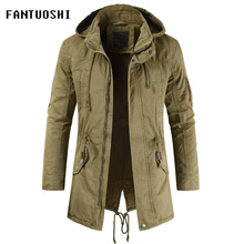 jacket male hooded Coat 2019 New Fashion men slim Casual cotton Long sleeve zip coat Detachable hood jacket for men size XXL недорого