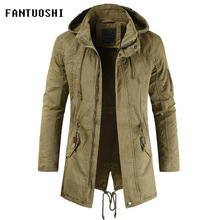 a50d40603cd2 jacket male hooded Coat 2019 New Fashion men slim Casual cotton Long sleeve  zip coat Detachable
