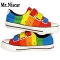 Low Top Style Boys Gradient Stripe Graffiti Canvas Shoes Men Unisex Couples Rainbow Striped Hand Painted Shoes