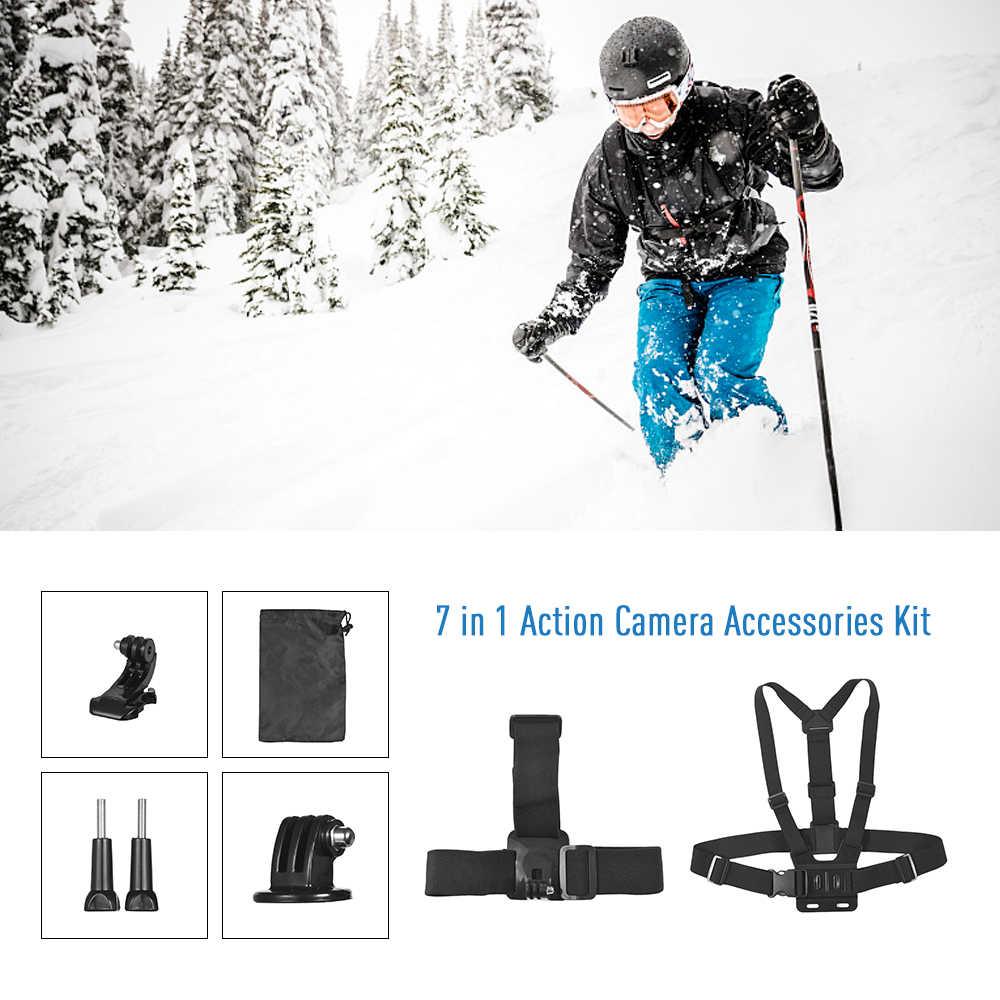 Andoer 7In1 Phụ Kiện Kit cho GoPro Anh Hùng 6 5 cho Xiaomi Yi cho SJCAM AKASO EK7000 Dũng Cảm Ngoài Trời Thể Thao Hành Động máy ảnh Núi Kit