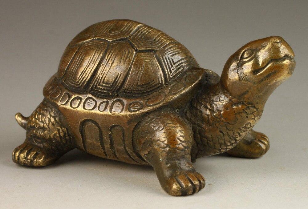 Superbe collectionnable ancien exorcisme spirituel tortue laiton Statue expédition outils mariage décoration laiton