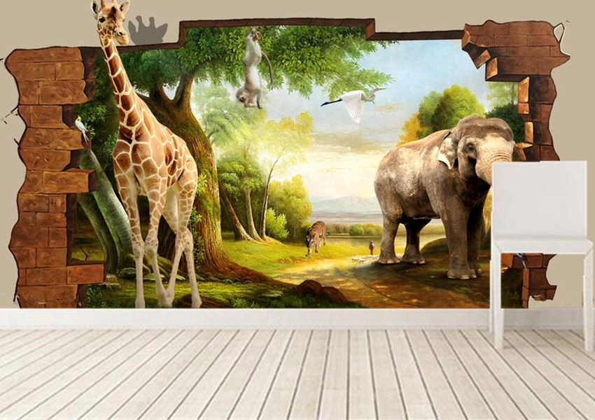 The custom 3D murals, 3D stereo cute cartoon animal world  papel de parede,living room sofa TV wall children bedroom wallpaper custom 3d stereo wallpaper murals window outside european scenery living room tv wall decoration painting papel de parede 3d