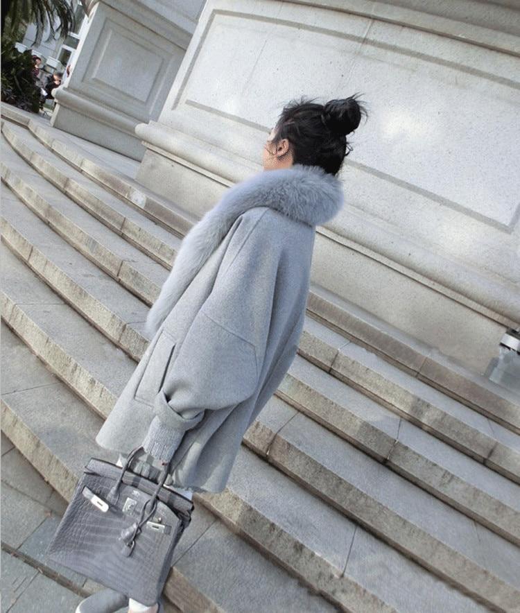Off Manteau Couleur Et D'hiver Lâche Fourrure Mode White Taille Femmes gris Plus Laine Solide Américaine Européenne Cardigan La Grand Col Des De Nouvelle Automne Axq1PPRw