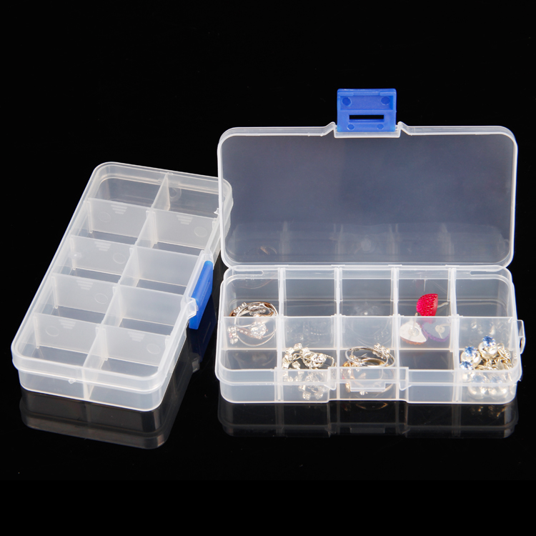 TONVIC 20 Plastic Adjustable Compartment Beads Box Storage Box 10 Compartments Jewelry D