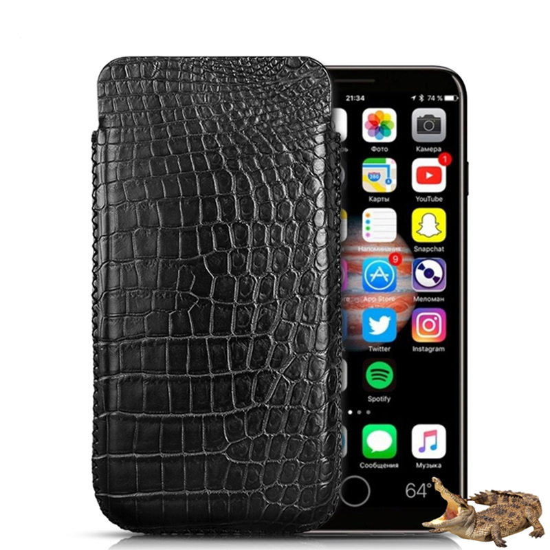 Classical Pull Type Genuine Crocodile Belly Skin Leather Pouch Phone Holster Bag Case For Apple iPhone X Original Leather Cases