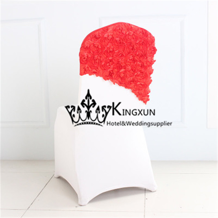 100PCS Red Color Spandex Satin Rosette Chair Cap  Chair Hood For Wedding Chair Cover