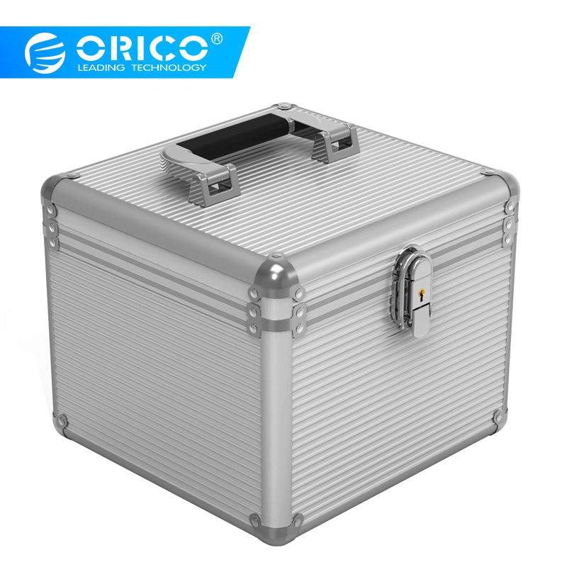 Orico BSC35 Aluminum HDD Protector Box 5/10 3.5-inch Hard Drive Protection Box Storage with Locking - Silver