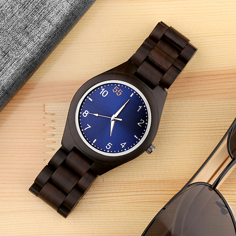 купить Top Luxury Blue Wood Watches Unique Wooden Watch Men Watch Fashion Full Wood Men's Watch Clock saat erkek kol saati reloj hombre по цене 1232.79 рублей