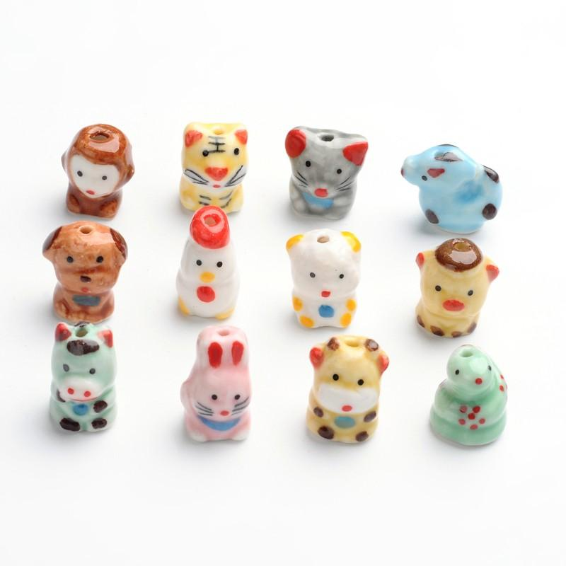 Handmade Porcelain Beads, Famille Rose Porcelain, Twelve Chinese Zodiac Signs, Mixed, 16~20x12~20x10~15mm, Hole: 2~3mm