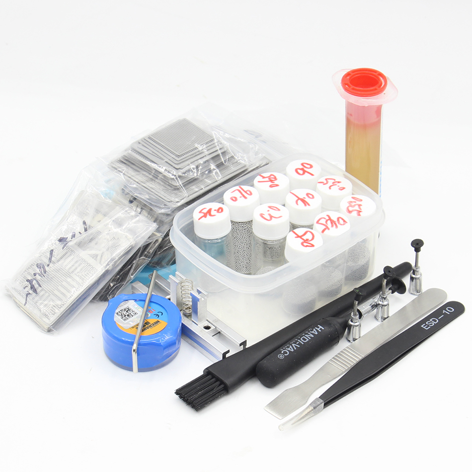 New Upgrade 715pcs BGA Stencil Bga Reballing Stencil Kit with direct heating Reballing station 10pcs BGA Solder balls new upgrade 810 model bga stencil bga reballing stencil kit with direct heating reballing station replace 715 pcs