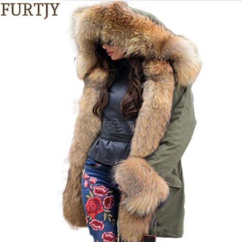Brand Winter Jacket Women Long Big Natural Detachable Raccoon Fur Collar Real Fur Coat Thick Warm Fur Lined   Parka   Promotion