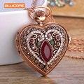 Blucome Сердце Любовь Красный Карманные Часы Для Женщин Свитер Старинные Турецкие Ожерелье Бронзовый Кварцевые Карманные Часы Ожерелья