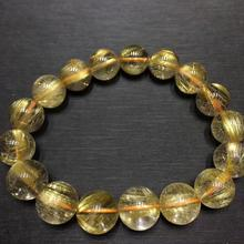 Genuine Natural Gold Rutilated Quartz Crystal Titanium Woman Man Wealthy Round Beads Bracelet 12mm Jewelry Bangle AAAA