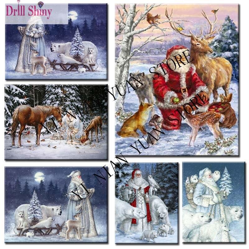 Diamond embroidery Santa Claus deer animal Christmas Kits square drill diy 5d diamond painting cross stitch mosaic pattern PF30