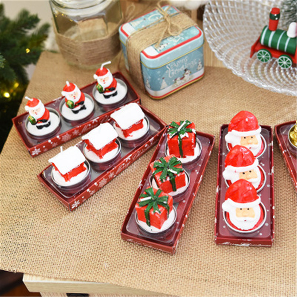 3pcs/1 box Christmas Candles with Santa House Snowman Xmas Party Gift Home Decor Navidad decoraciones para el hogar envio gratis