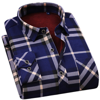 hot selling winter casual shirt warm long sleeve plaid shirts thick velvet mens brand dress shirts male slim fit 28 colors