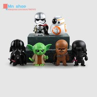 Free Shipping 6pcs Set Star Wars 7 Force Awakening Dark Knight White Knight Yoda PVC Action