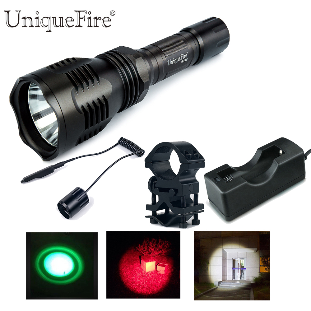 Uniquefire Led Flashlight HS-802-XPE Single File G/W/R Light Lampe Torche Kit:1 Torch,1 Scope Mount,1 Remote Pressure, 1 Charger