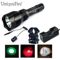 Uniquefire led lanterna hs-802-xpe único arquivo g/w/r luz kit torche lampe: 1 tocha, 1 scope mount, 1 de pressão remoto, 1 Carregador