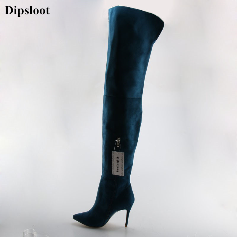 Dipsloot 2018 Suede Leather Slim Stiletto High Heels Woman Over-the-knee Boots Pointed Toe Zipper Woman Celebrity Long Boots цена