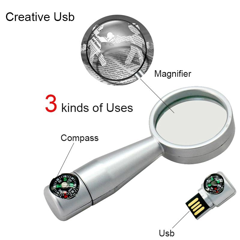 Creative Magnifier USB Flash Drive 64GB Metal Pendrive USB Memory Stick 32G pen Drive Real Capacity 16G USB Flash U disk flash